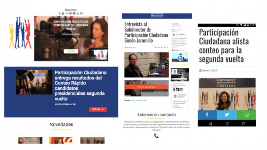 Página web de la organización ecuatoriana Participación Ciudadana vista desde distintas pantallas.